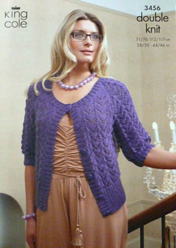 a2777d597 K3456 Ladies 3 4 Sleeve Lacy Scoop Neck Cardigan Knitting Pattern DK (Light  Worsted) King Cole