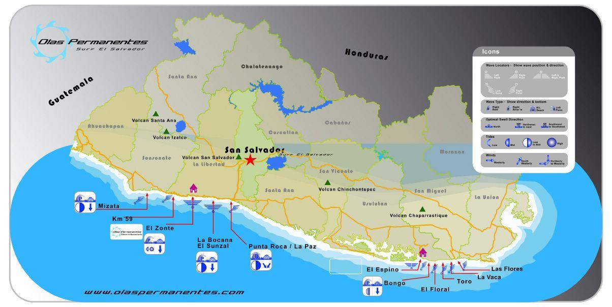 Mapa Con Playas Para Surfear En El Salvador3 60 7 Vote S El