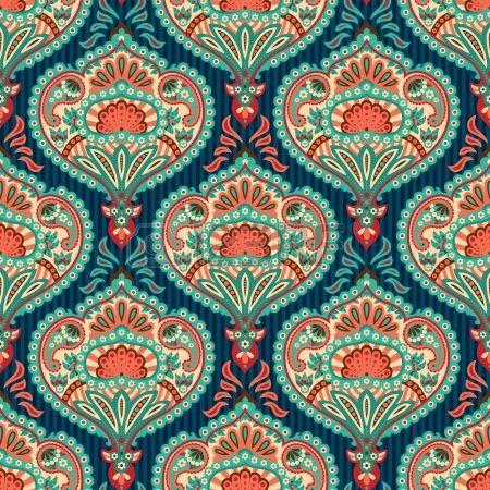 Motif de papier peint paisley oriental banque d 39 images patterns pinte - Papier peint motif ancien ...
