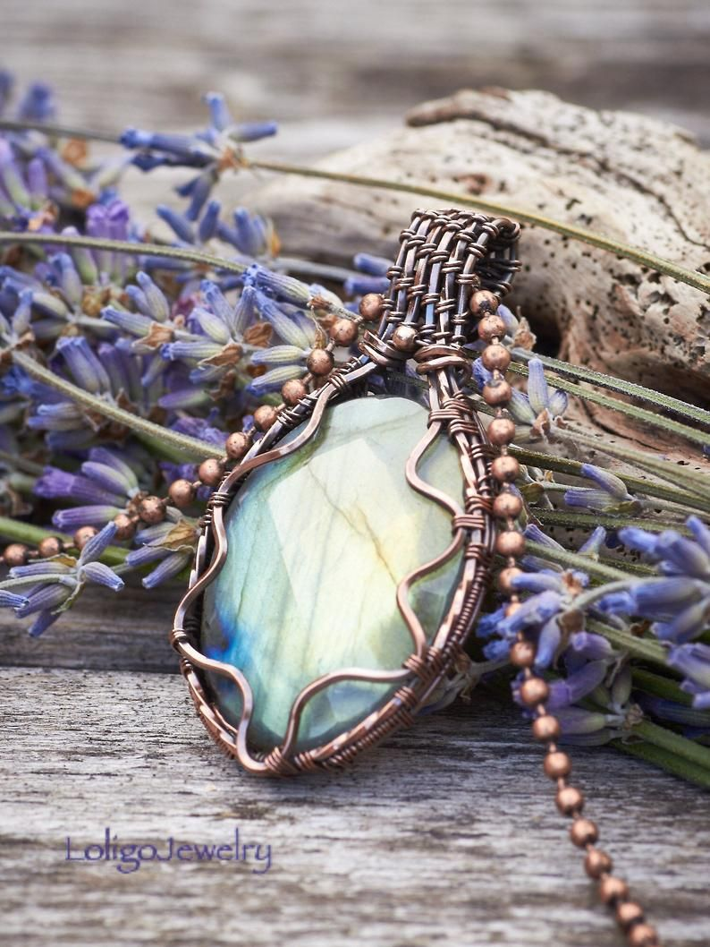 Copper Wrapped Labradorite Pendant Necklace Copper Jewelry Boho Vibes