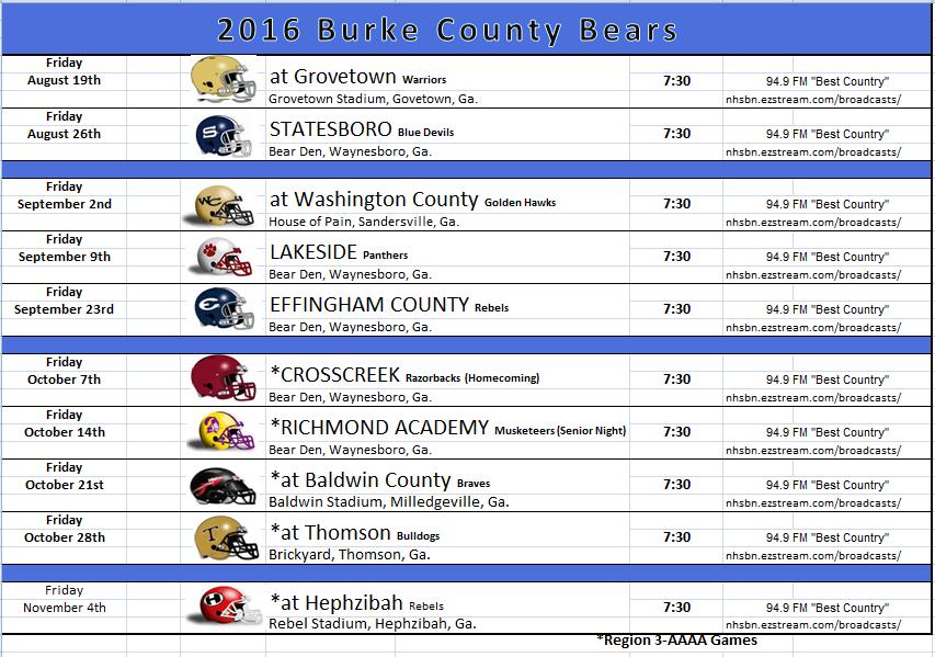 2016 Varsity Schedule Football Burke County High