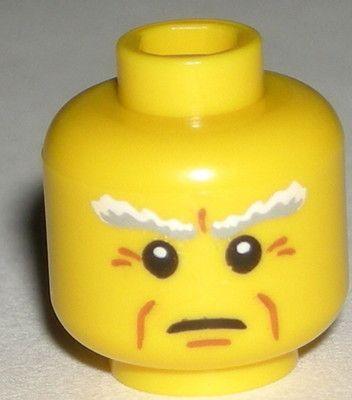 LEGO Yellow Ocean King Minifigure Head White Bushy Eyebrows Crow's Feet 8831 $1.75