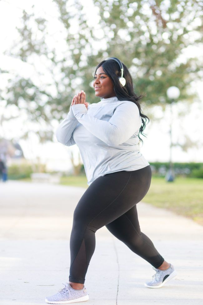 Plus size activewear and workout outfits for women with curves