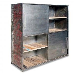 Armoire Bibliotheque Et Etagere Armoire Industrielle 130cm Kl194 Modele Meuble Loft Meubles Industriels Armoire En Bois Armoire
