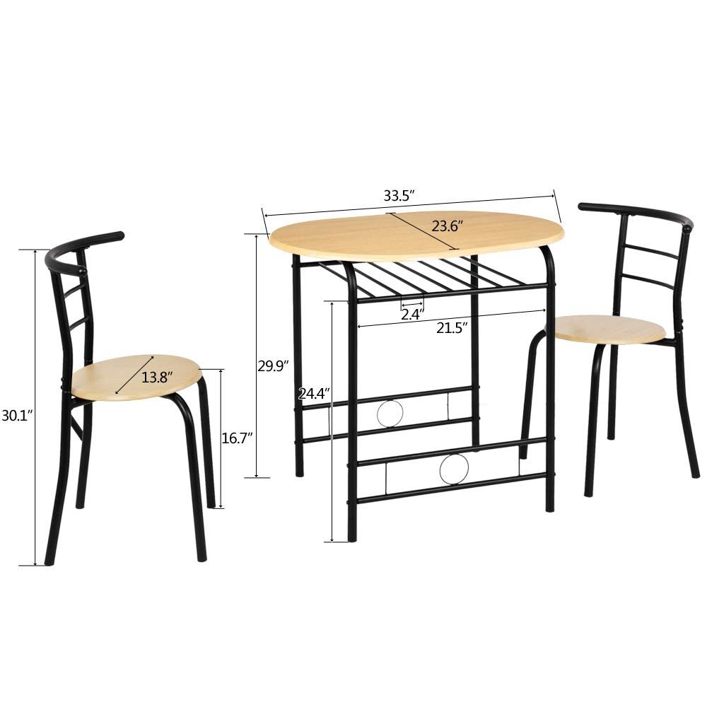 Bonnlo 3 Piece Dining Table Set Breakfast Bistro Pub Table With 2 Chairs Compact Size Table And 2 Chairs Natur In 2020 Pub Table 3 Piece Dining Set Small Dining Table