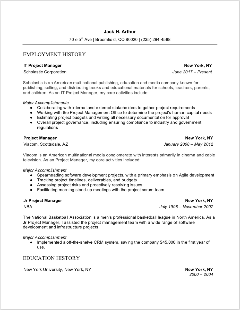 Project Manager Resume Word Project Manager Resume Resume Words Manager Resume