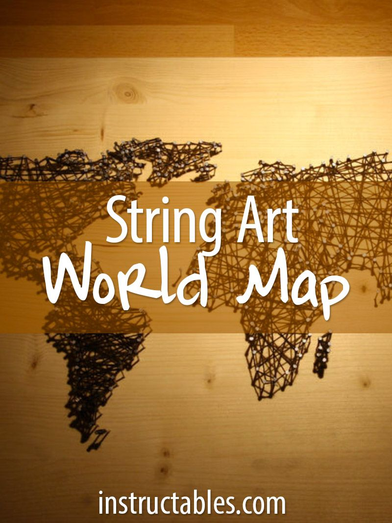 String and nail art world map forget string art and string wall art string and nail art world map gumiabroncs Images