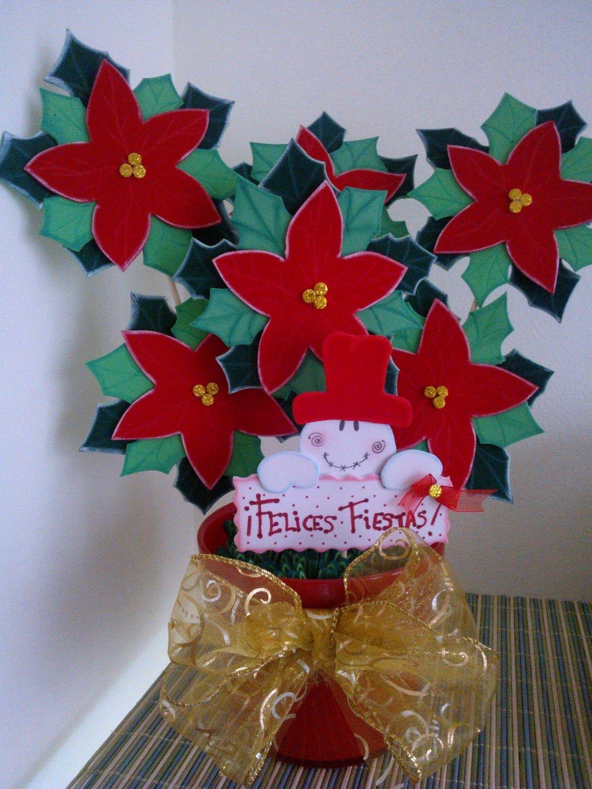 Maceta flor de pascua o navidad goma eva macetas - Decoracion navidad goma eva ...