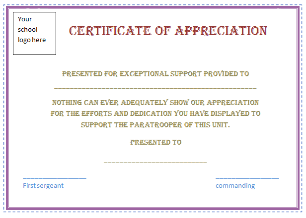 Free Certificate Of Appreciation Template Purple Border