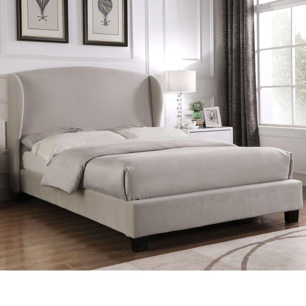 Best Blenheim Light Grey Velvet Fabric Winged Bed Frame 5Ft 400 x 300