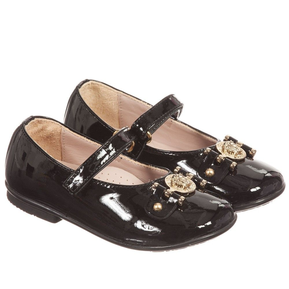 e9d3b94b8 Girls Black Patent Leather   Gold Medusa Shoes