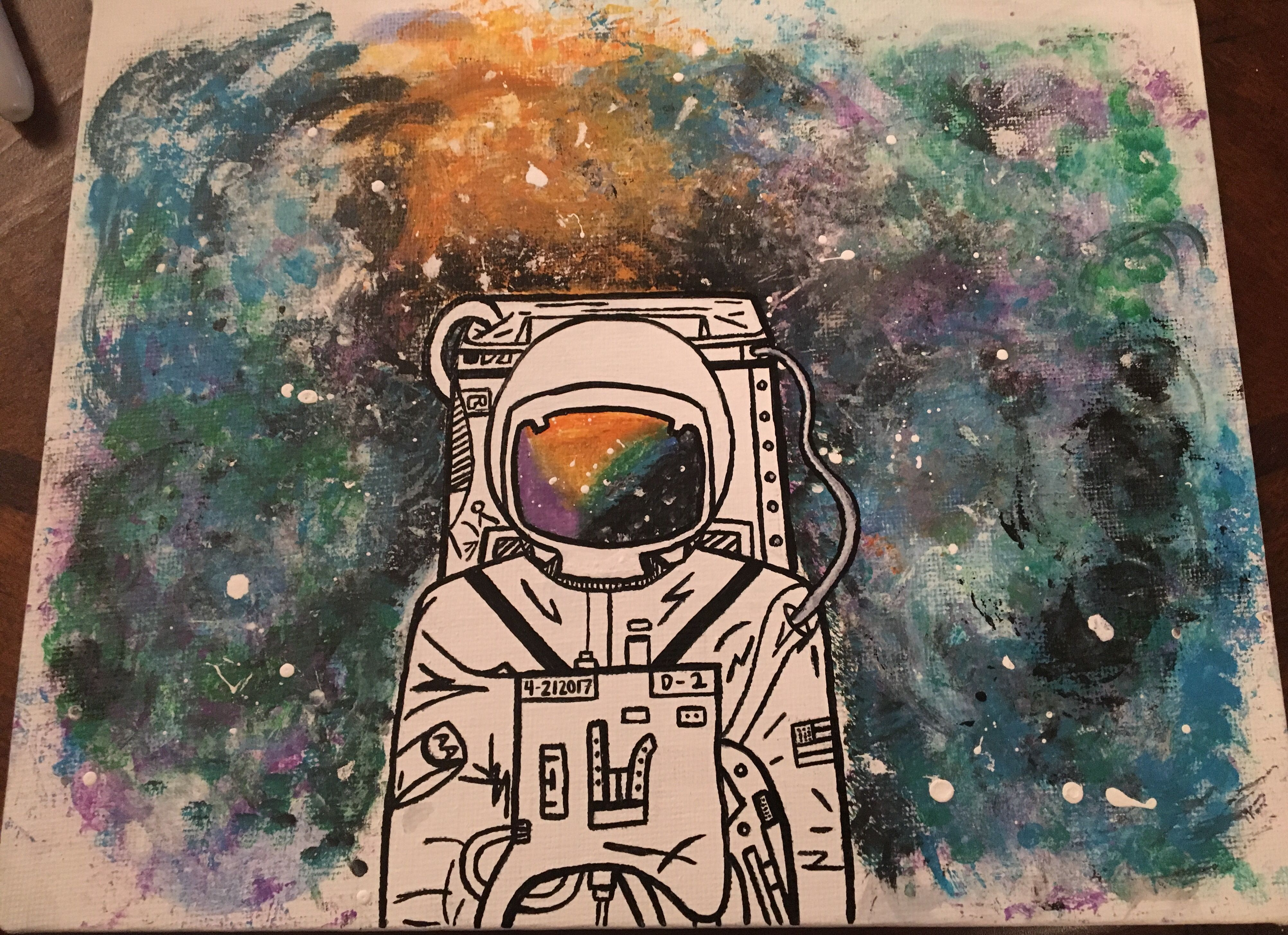 Astronaut With Galaxy Background Diy Canvas Canvas Artwork Background Diy Diy Canvas