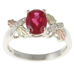 Black Hills Gold and Sterling Silver Created Ruby and Diamond Accent Ring   Overstock.com Shopping - Top Rated Black Hills Gold Gemstone Rings