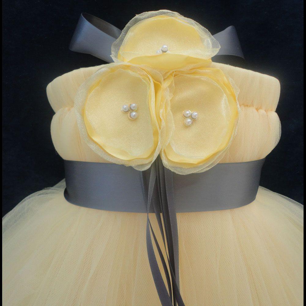 Grey Yellow Flower Girl Dress 7995 Via Etsy These Are Custom