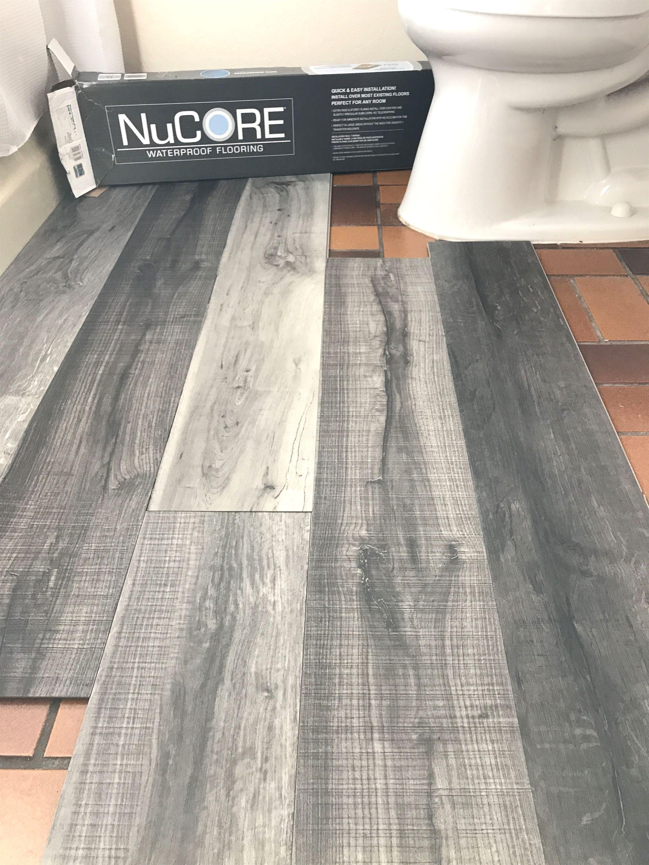 Vinyl Plank Flooring That S Waterproof Lays Right On Top Of Your Existing Flo In 2020 Toilet And Bathroom Design Grey Vinyl Plank Flooring Allure Vinyl Plank Flooring