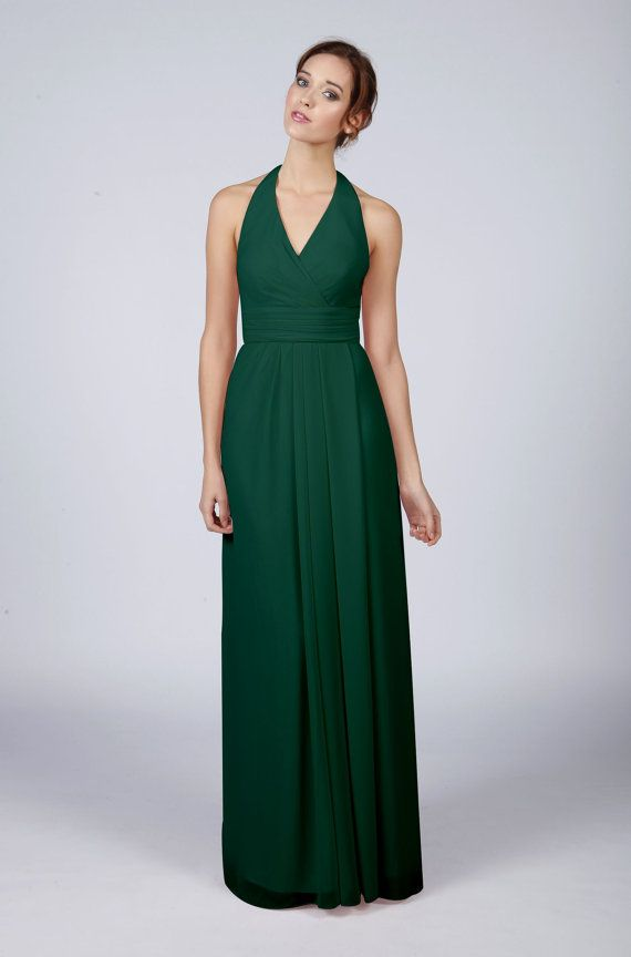 Beautiful long halterneck bridesmaid dress made of silk underlay and  chiffon overlay. Available in all Matchimony colours with built in support  to flatter ... f775d7669