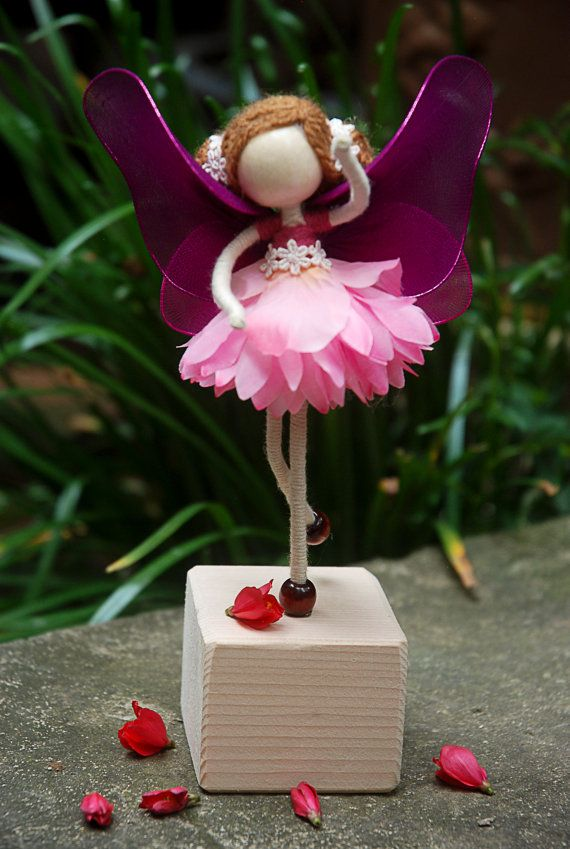 Items similar to Rose Princess Doll, Green Fairy Miniature, Rose Petal Doll, No face doll, Angel Ornament on Etsy