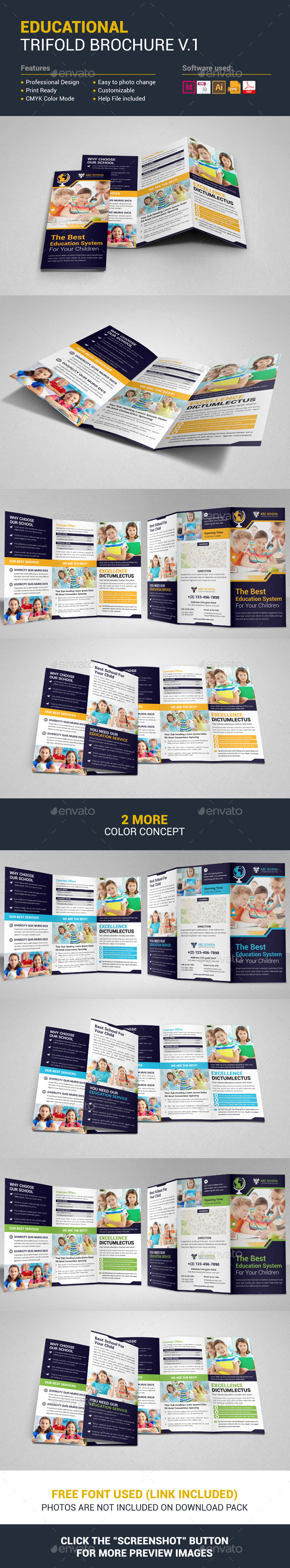 Educational Trifold Brochure Template Vector EPS, InDesign INDD, AI ...