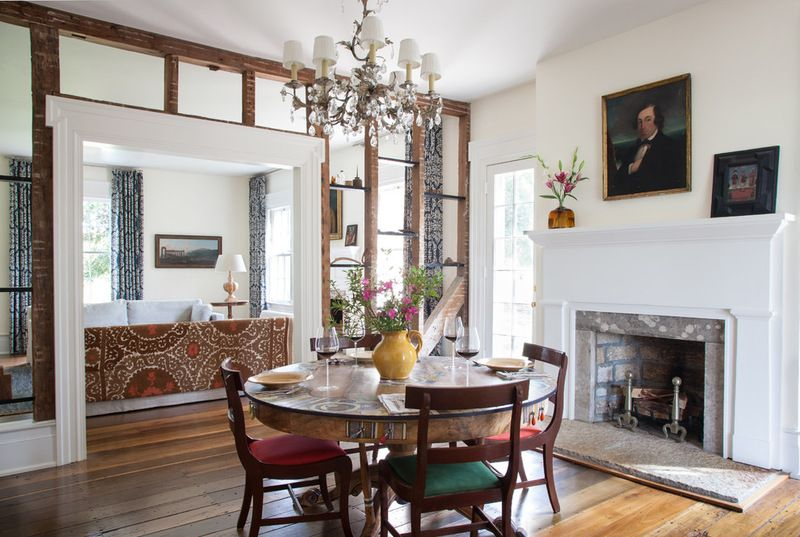 Open Framing Hearth Fireplace Surround Tennessee Farmhouse Dining Room By  HS2 Architecture The Original Mantel In