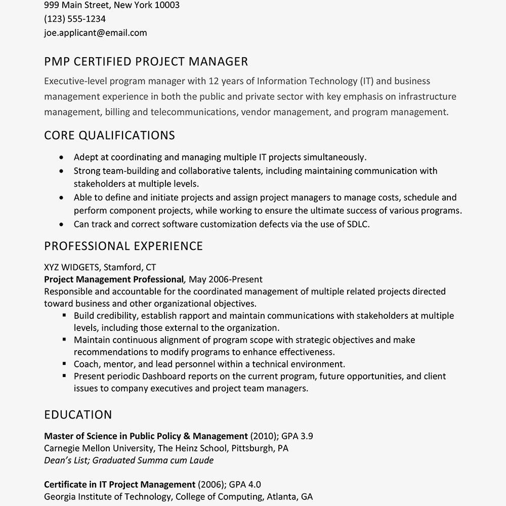 Project Management Resume Samples Unique Resume Sample For