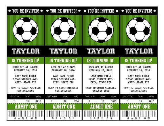 Soccer Invitations  Soccer Ticket Invitation  Soccer Party