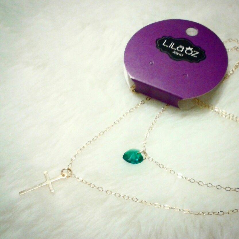 Una hermosa pieza de amor. Cadena doble goldfield con corazón Swarovski y cruz  COP $32,000 joyas.lilaoz@gmail.com