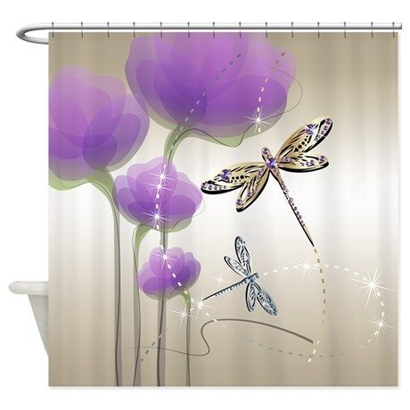 Dragonflies And Purple Flowers Shower Curtain By