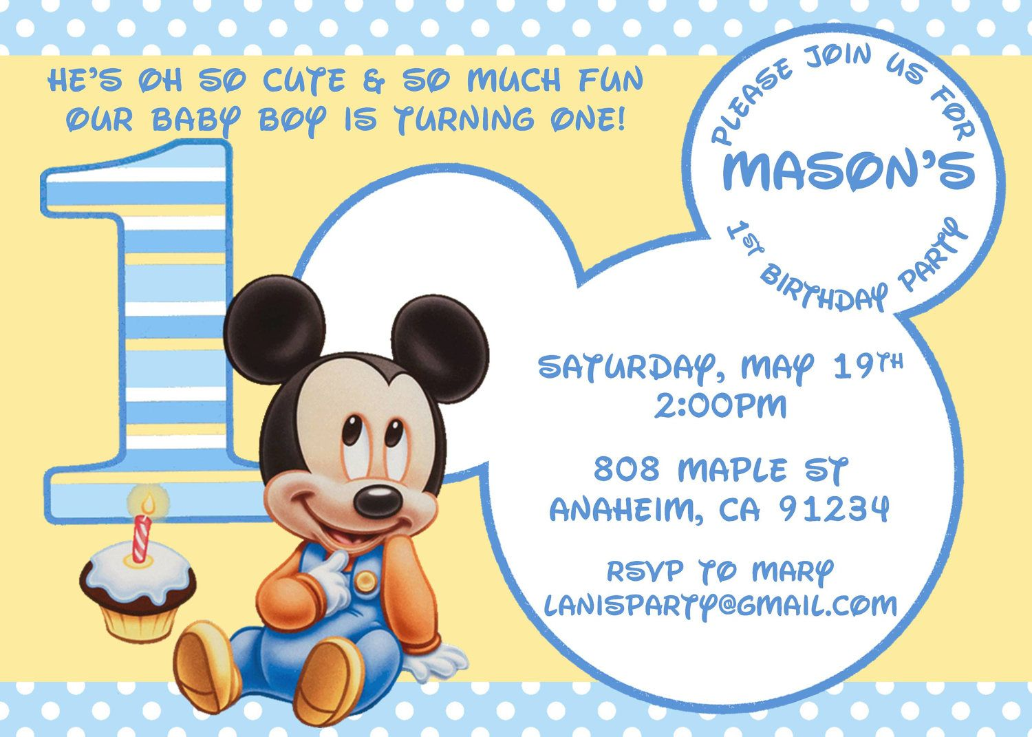 Baby Mickey Mouse Matches Mickeys St Party Supplies - Digital birthday invitation template
