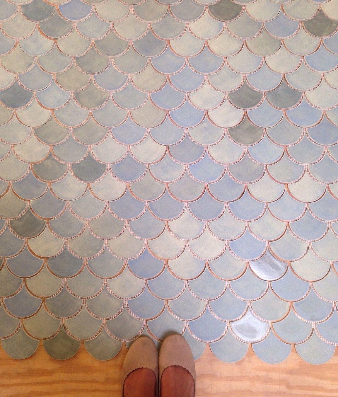 Medium Moroccan Fish Scales 22e Blue Opal Fish Scale Tile Bathroom Moroccan Fish Scale Fish Scale Tile