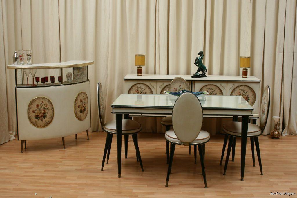 Italian Umberto Mascagni 1950s Vynil 3 Piece Dining Room Set