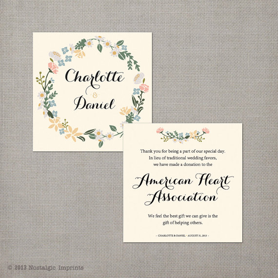 50 Wedding Favor Donation Cards In Lieu Of Favors Recepti