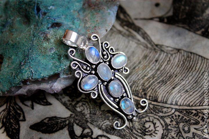 """Купить Подвеска """"КРЕСТ""""с лунным камнем(серебряное покрытие 925) - серебряный синий кулон"""