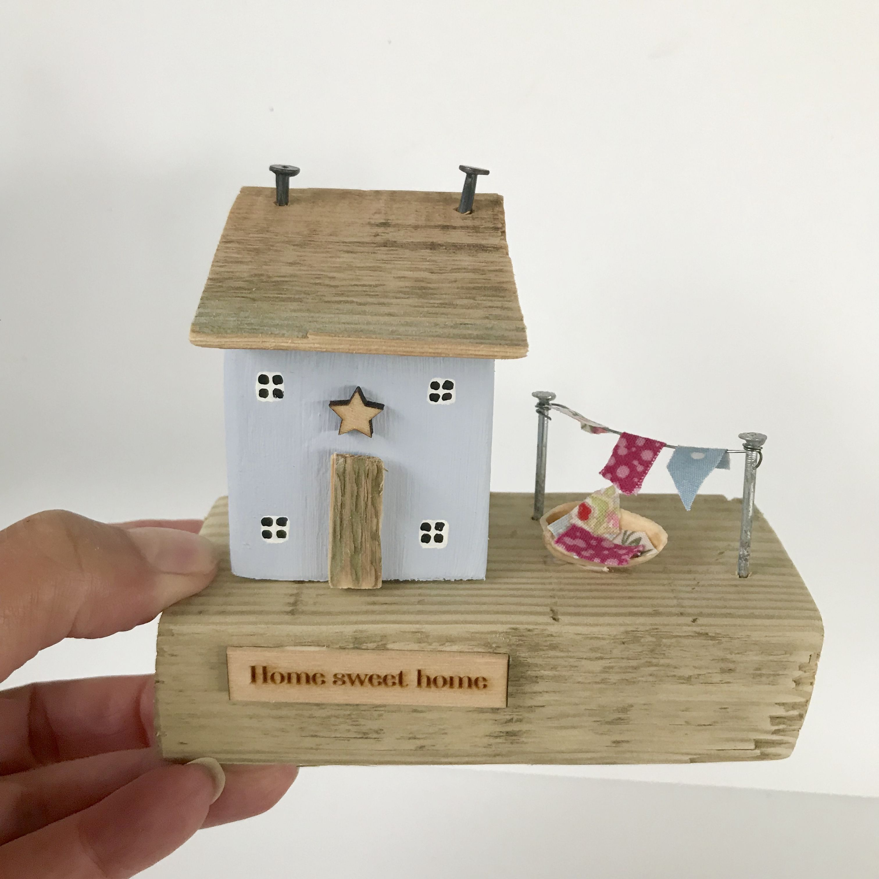 Pale Blue Little House Ornament Home Sweet Home Etsy House Ornaments Barn Wood Crafts Tiny House Ornament