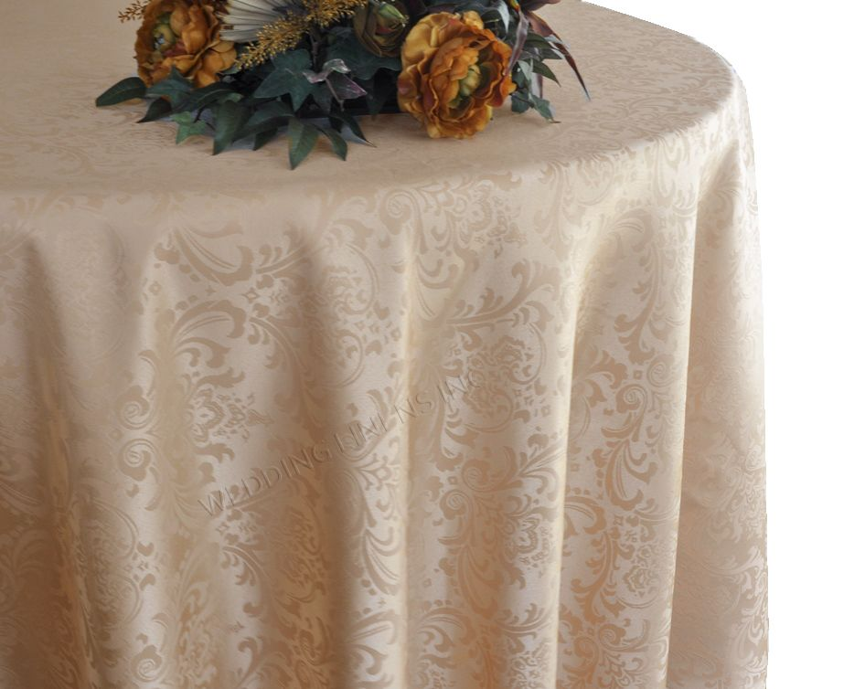 108 Round Jacquard Damask Polyester Tablecloth Champagne 1pc Pk Damask Tablecloth Table Cloth Damask