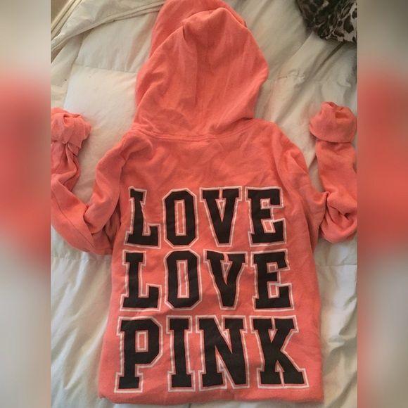Orange PINK Hoodie Cute & comfy hoodie that has been used but is in great condition! PINK Victoria's Secret Tops Sweatshirts & Hoodies