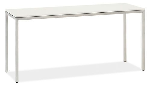 Made by Wisconsin artisans, our classic Portica console table features the clean modern look of a stainless steel base with mitered corners that require precise craftsmanship. Choose from a variety of top options to make Portica your own. Please note: overall height may vary slightlydepending on the top material you select.