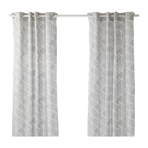 nunnerÖrt curtains, 1 pair, gray/white | thick curtains, room and