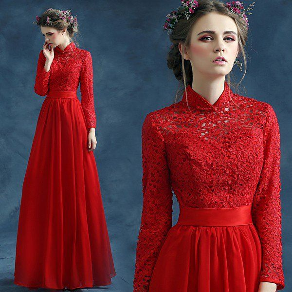 2015 Popular Chinese red Lace Sleeves Ruffles Chiffon Cocktail Dress