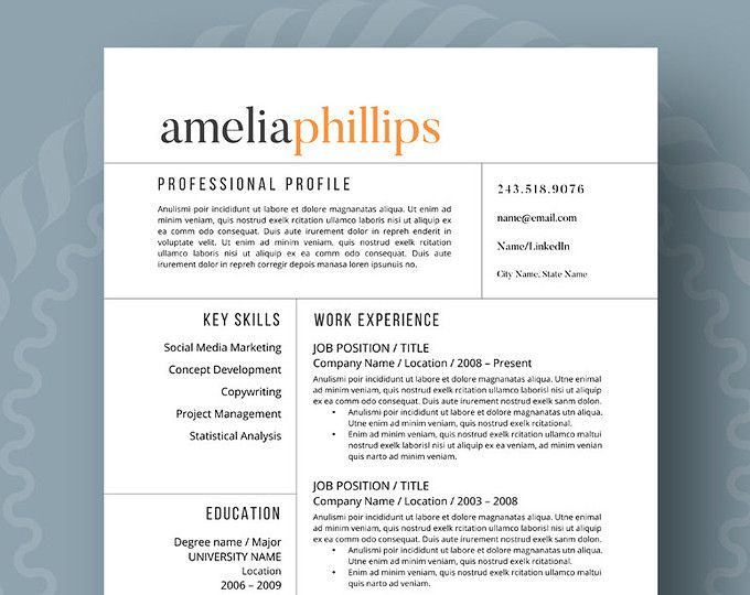 Resume Cover Letter Template 2018 Modern Resume Template  The Amelia  2018 Career  Pinterest