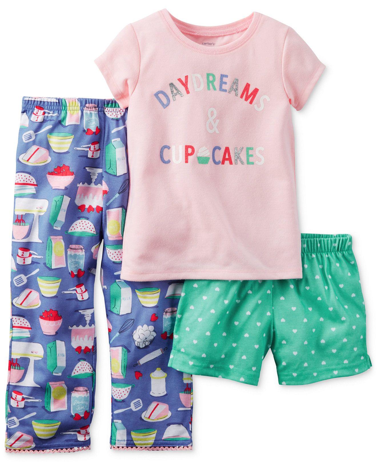 93f2e11ee50d Carter s Toddler Girls  3-Piece Daydreams   Cupcakes Pajamas Set ...