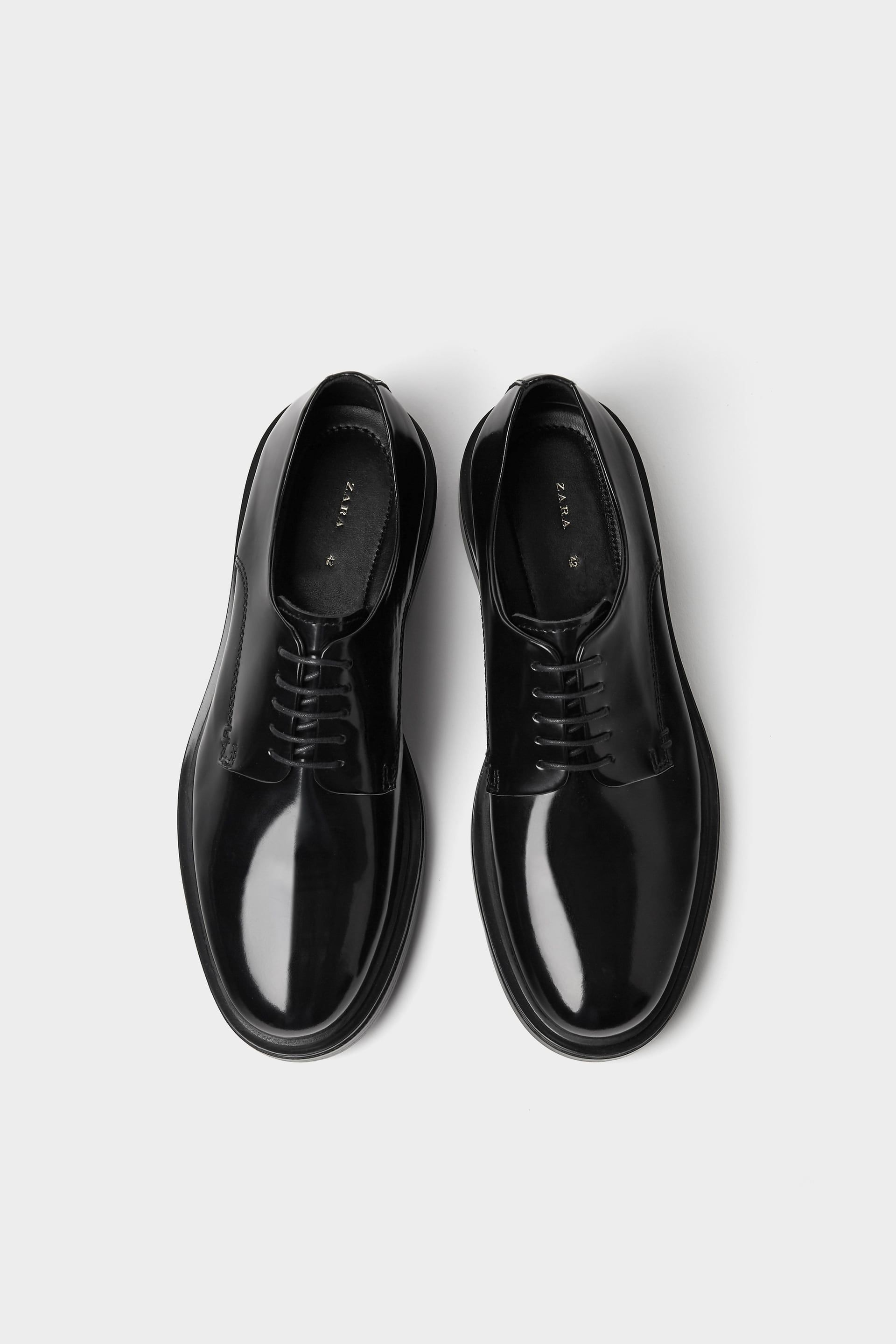 2adc68d03d4 Zara GLOSSY FINISH LEATHER SHOES $129. Leather derby shoe. Glossy ...