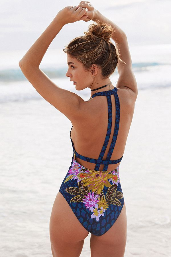 Out From Under Printed Tie-Front One-Piece Swimsuit