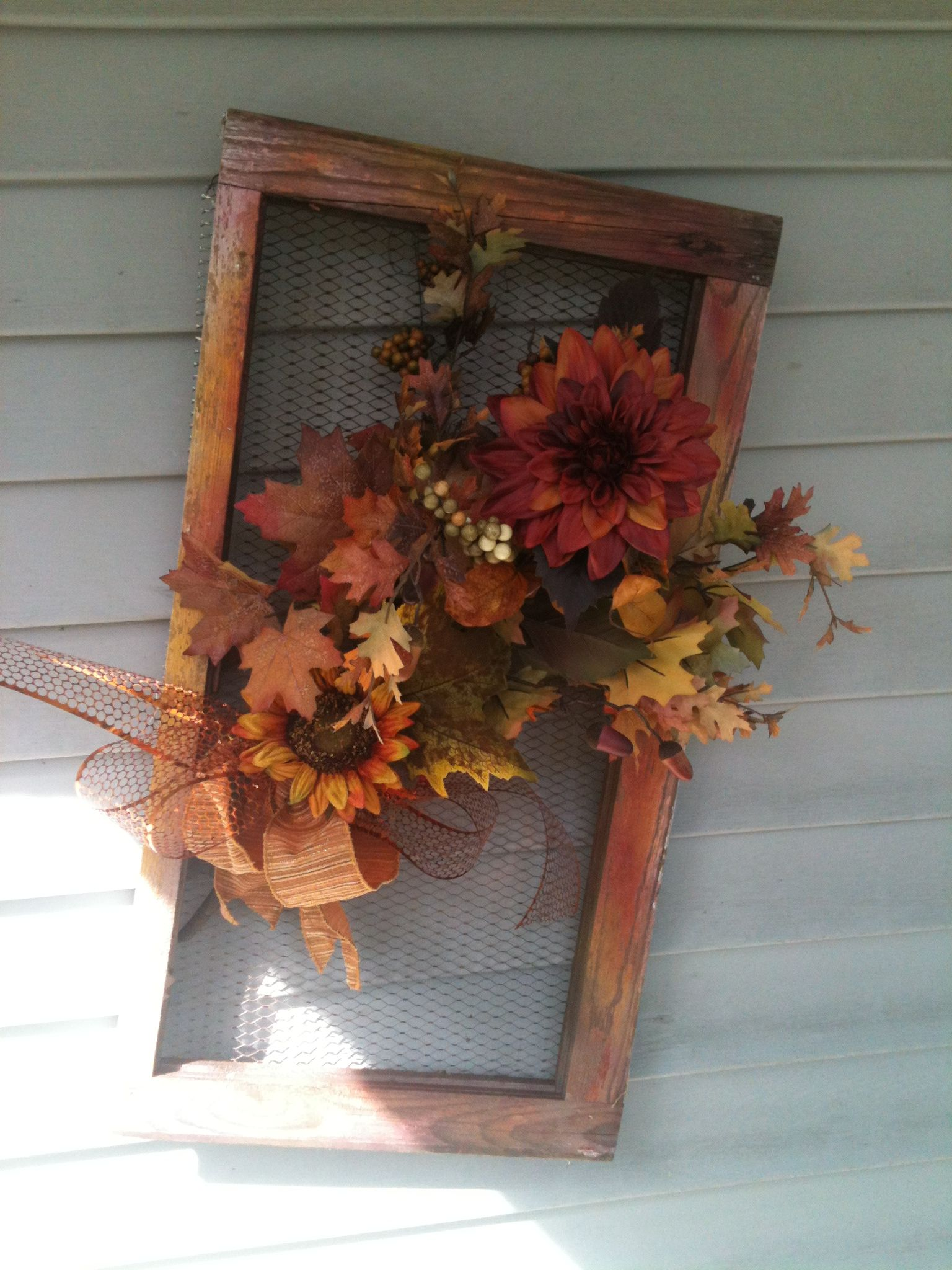 entry way fall decoration-with old washboard, window screen, etc ...