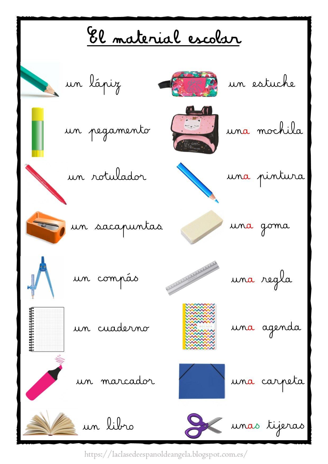 Cartel De Aula Con El Vocabulario Del Material Escolar