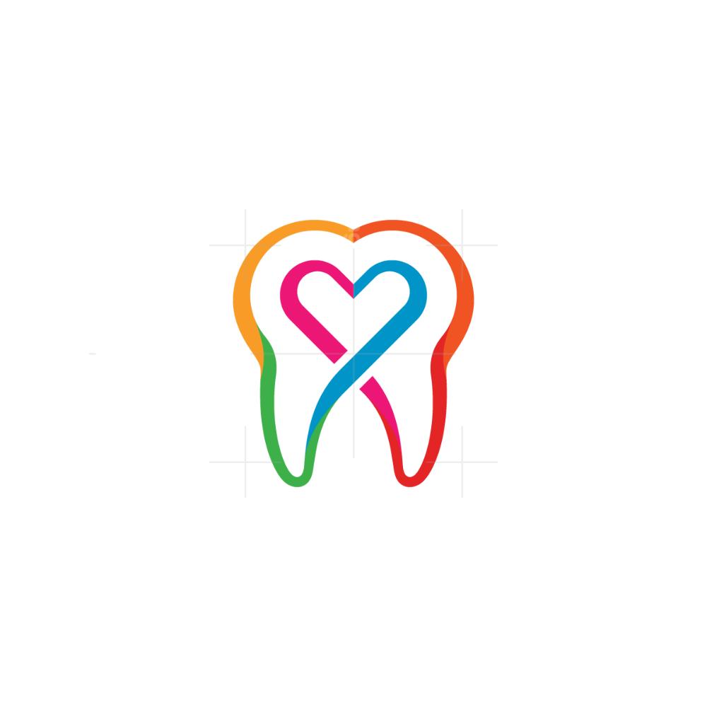 Heart Tooth Logo In 2020 Teeth Logo Logos Simple Logo
