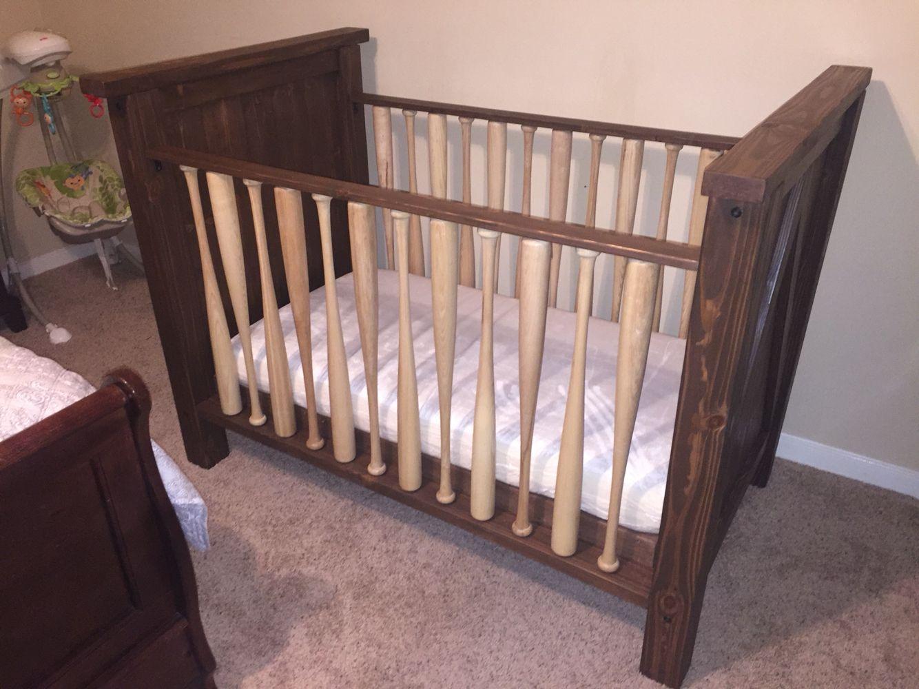 Baseball Bat Crib Hand Made Solid Wood With Real Bats Can