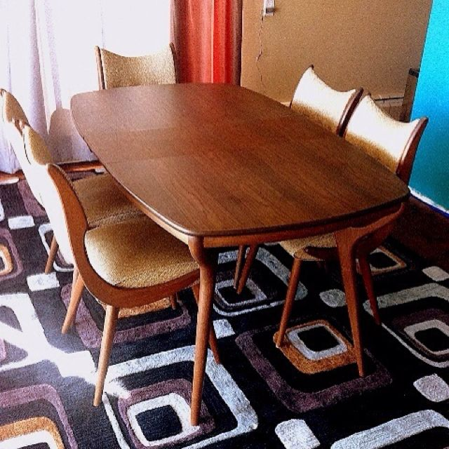 Mid Century Walnut And Formica Dining Table Boomerang Chairs And