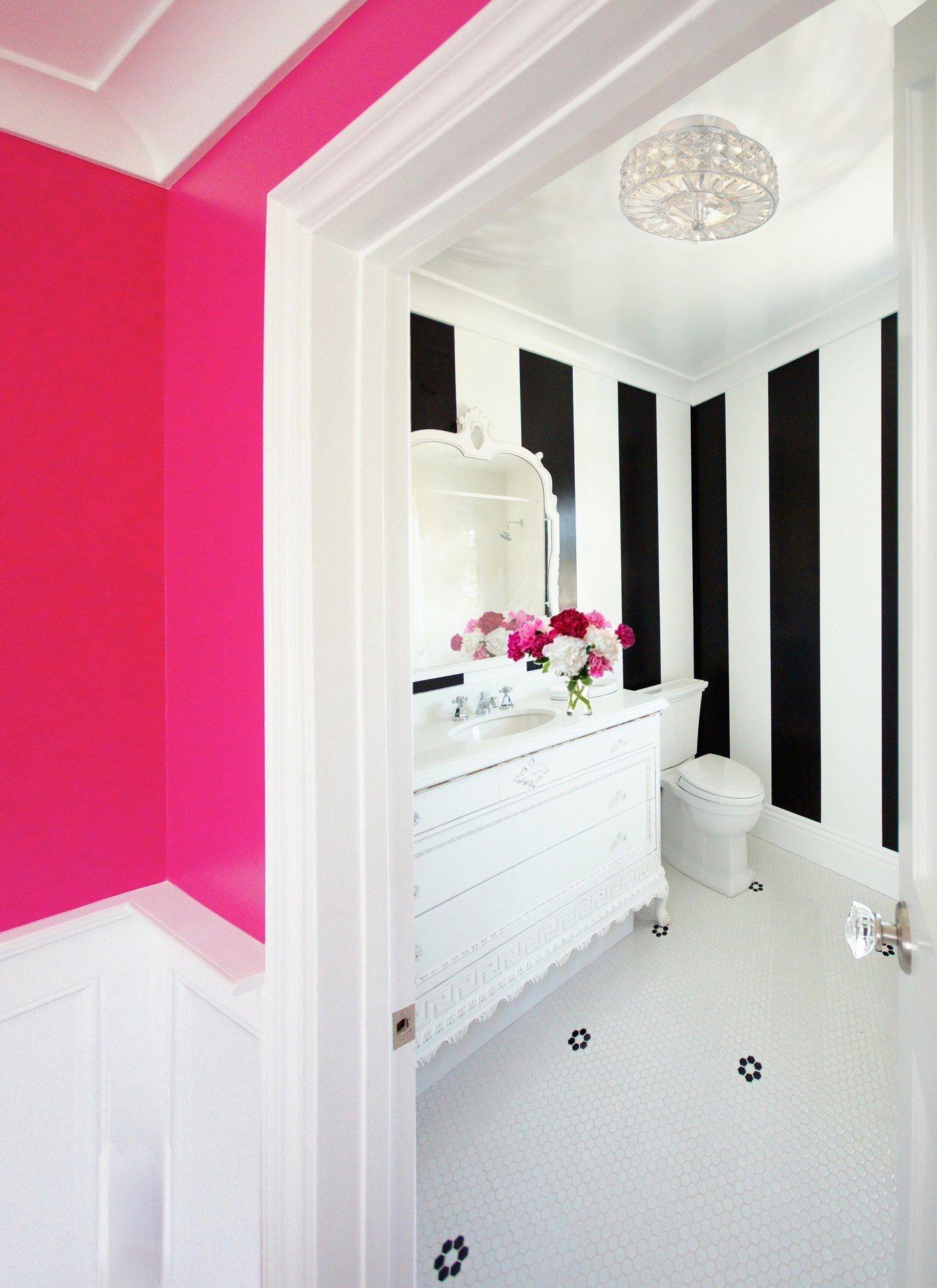 Black White Pink Beautiful My New Bathroom Palette I Think So Girly Bathroom Pink Ceiling Bathroom Interior Design