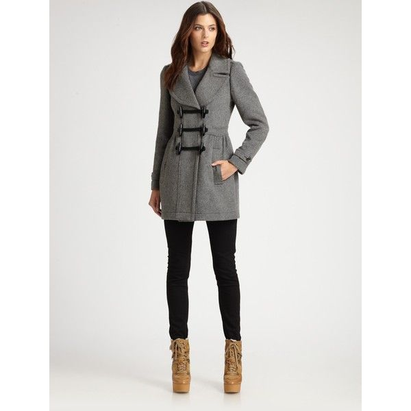 Burberry Brit Wool Toggle Jacket ❤ liked on Polyvore