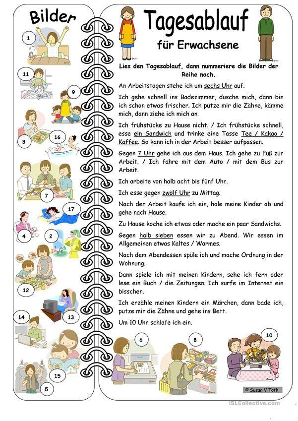Tagesablauf für Erwachsene mit Bildern * mit Lösung | Deutsch ...
